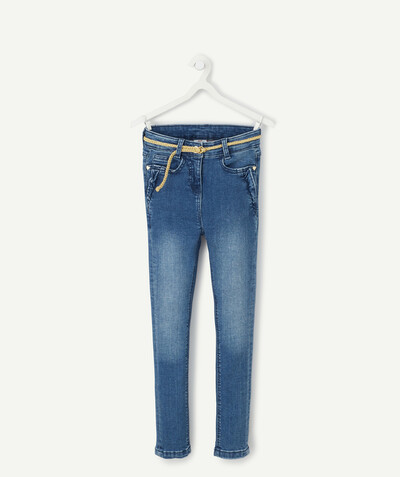 Total denim look radius - SUPER SKINNY JEANS WITH A GOLDEN BELT