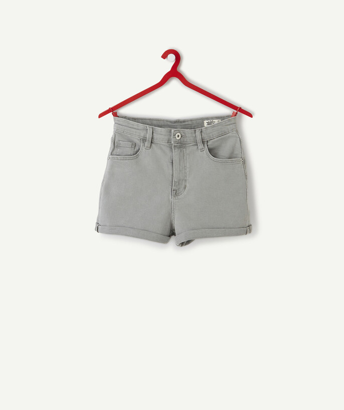 ECODESIGN teen girl Sub radius in - HIGH-WAISTED GREY DENIM SHORTS