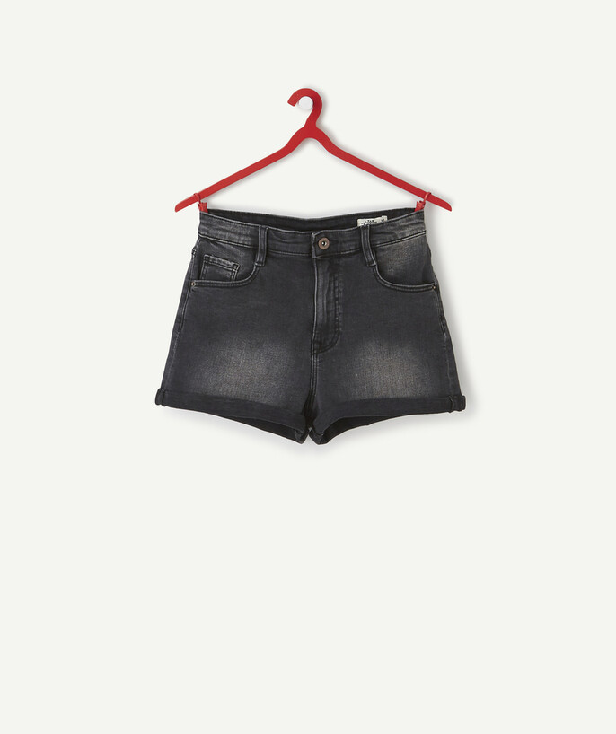ECODESIGN teen girl Sub radius in - HIGH-WAISTED FADED BLACK DENIM SHORTS