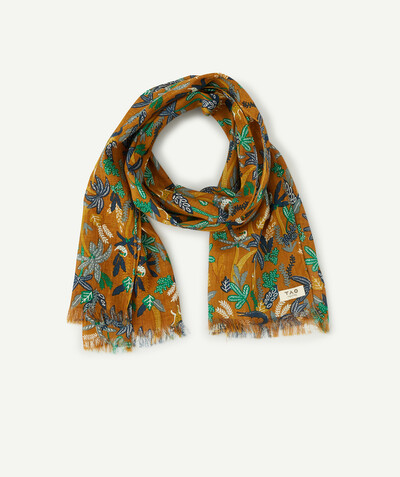 Accessories radius - OCHRE SCARF WITH A JUNGLE PRINT