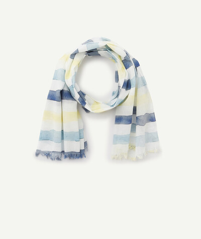 Special Occasion Collection radius - SCARF IN ORGANIC COTTON WITH COLOURED STRIPES