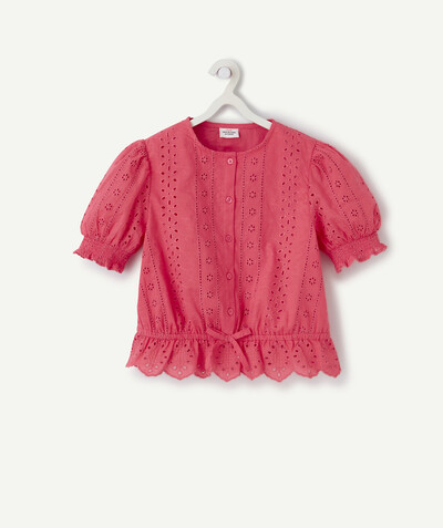 Shirt - Blouse radius - FUCHSIA BLOUSE WITH BRODERIE ANGLAIS