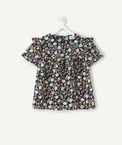 Shirt - Blouse radius - NAVY BLUE BLOUSE WITH A FRUIT PRINT