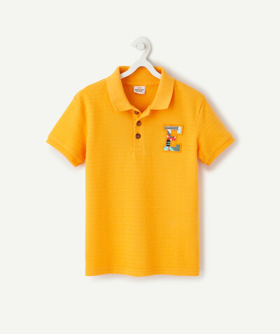 Shirt - Polo radius - TEXTURED ORANGE POLO SHIRT IN STRETCH COTTON