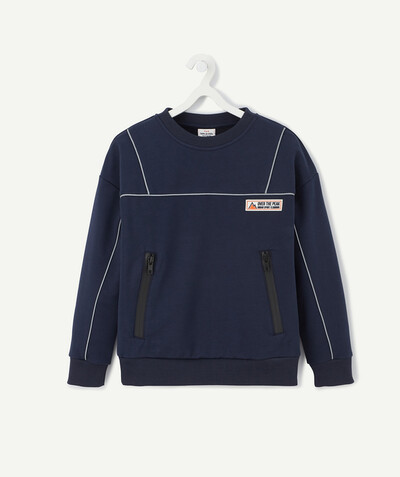 Sportswear radius - NAVY BLUE SWEATSHIRT WITH GREY BINDING AND ZIP POCKETS