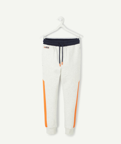 Comfortable fleece radius - WHITE MARL JOGGING PANTS IN ORGANIC COTTON