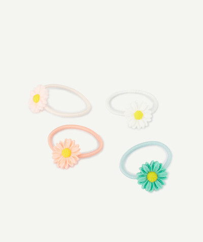 All collection radius - FOUR COLOURED HAIR ELASTICS WITH FLOWERS IN RELIEF