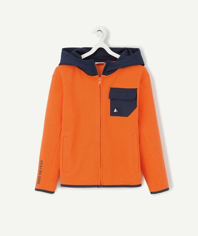 Sportswear radius - ORANGE SWEATSHIRT FLOCKED AT THE BACK IN ORGANIC COTTON
