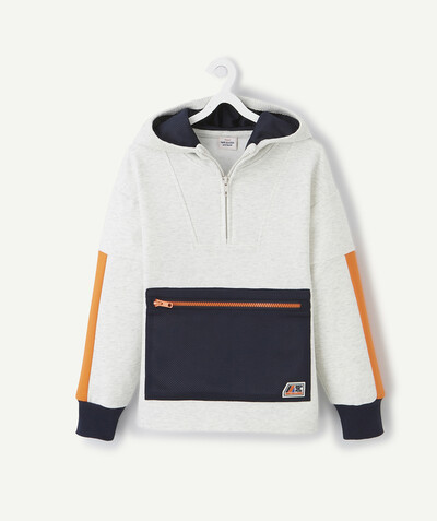 Sportswear radius - WHITE MARL HOODED SWEATSHIRT IN ORGANIC COTTON