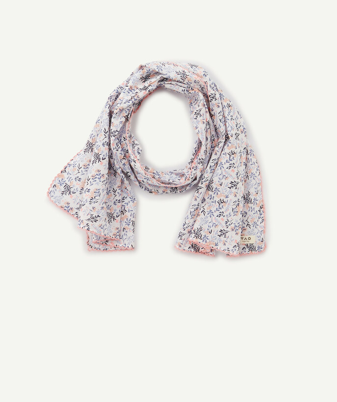 Accessories radius - PINK FLOWER-PATTERNED SCARF IN ORGANIC COTTON