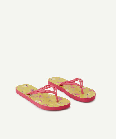 Tongs Rayon - LES TONGS JAUNES ET FUCHSIA FLEURIES
