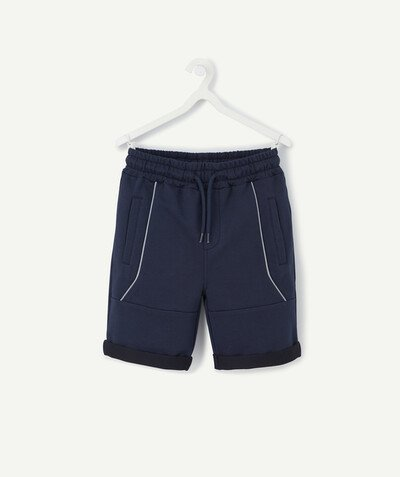 Comfortable fleece radius - NAVY BLUE BERMUDA SHORTS IN ORGANIC COTTON