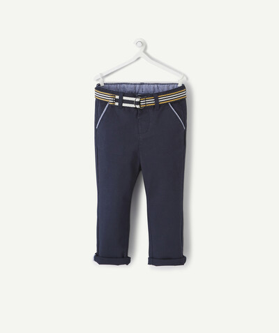 All collection radius - NAVY BLUE BELTED CHINO TROUSERS