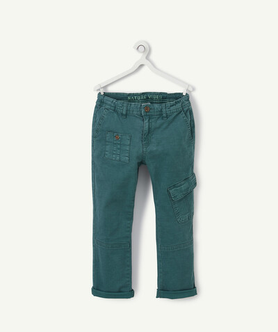 Trousers size + radius - GREEN CARGO TROUSERS IN WOVEN COTTON