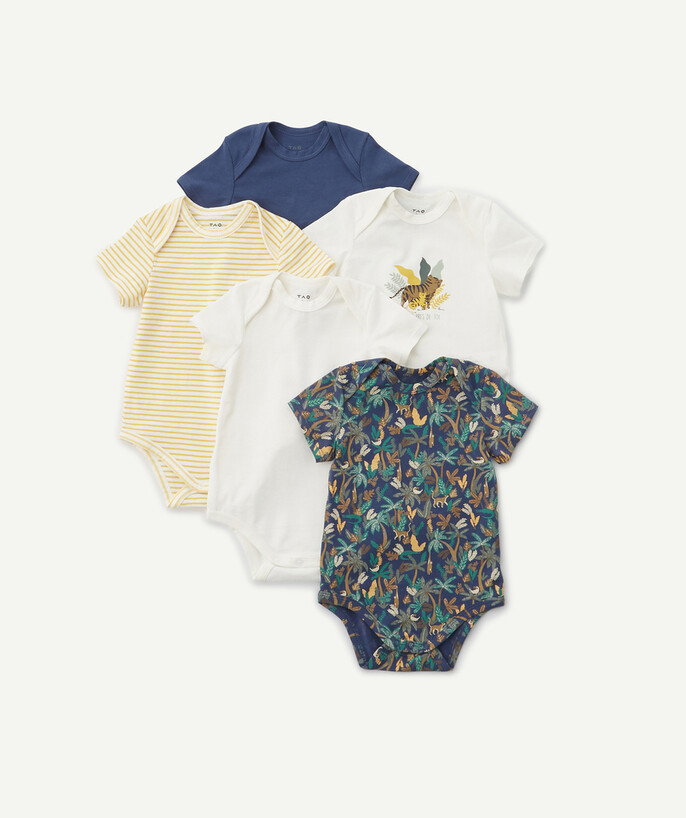 Newborn Boy radius - FIVE JUNGLE PRINT BODIES IN ORGANIC COTTON
