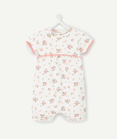 New collection radius - SHORT FLOWER-PATTERNED SLEEPSUIT IN ORGANIC COTTON