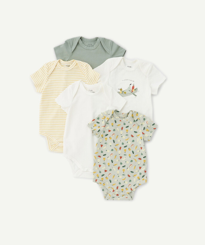 Newborn Boy radius - FIVE BODIES IN ORGANIC COTTON WITH PRINTED VEGETABLES