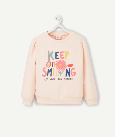 All Collection radius - PALE PINK SWEATSHIRT IN ORGANIC COTTON WITH A FUN DESIGN