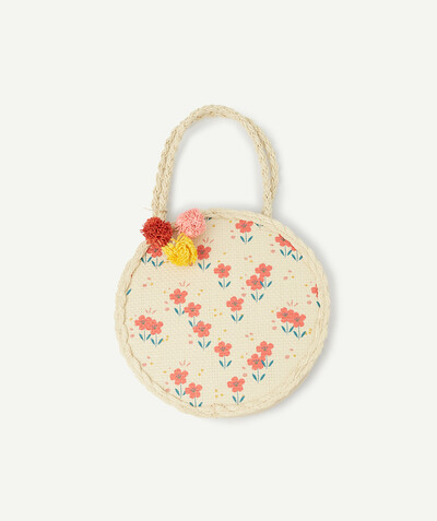 Special occasions' accessories radius - FLOWERY BAG IN STRAW WITH COLOURED TASSELS