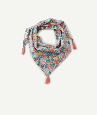New collection radius - SCARF WITH PRINTED FRUITS AND TASSELS