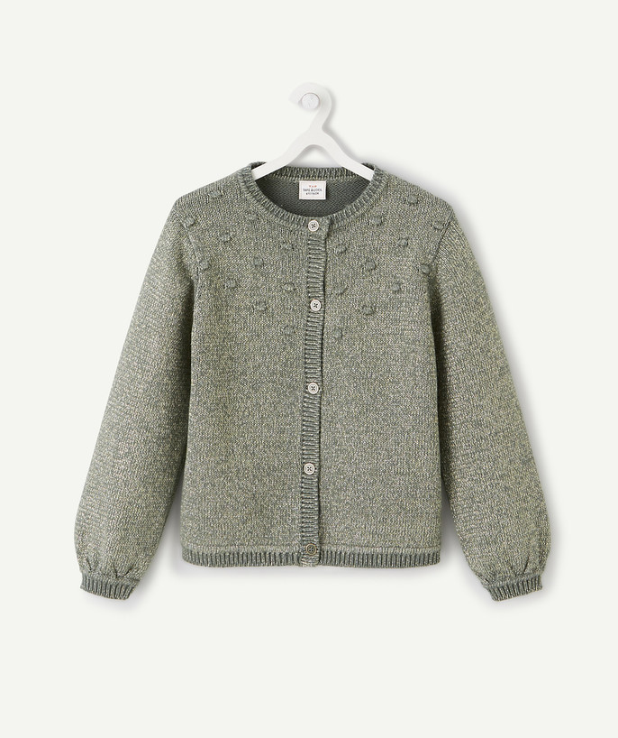 Outlet radius - SAGE GREEN CARDIGAN IN A SPARKLING KNIT