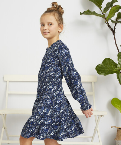 Dress radius - NAVY BLUE FLOWER-PATTERNED SKATER DRESS