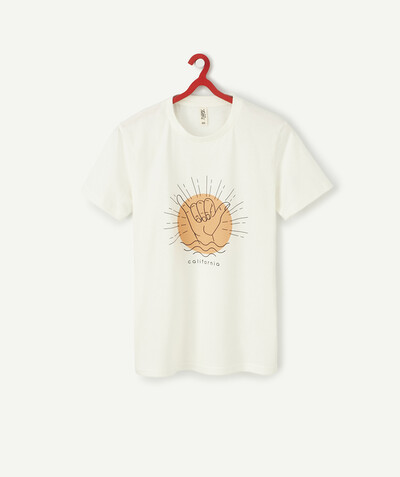 T-shirt radius - WHITE T-SHIRT IN FLOCKED ORGANIC COTTON