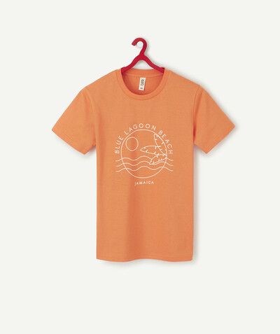 T-shirt radius - FLOCKED ORANGE T-SHIRT IN ORGANIC COTTON