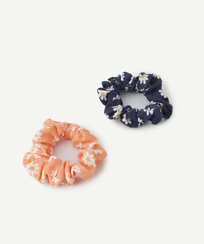 All collection Sub radius in - TWO ORANGE AND BLUE HAIR SCRUNCHIES WITH PRINTED FLOWERS