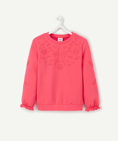 Spring looks ideas radius - PINK SWEATSHIRT IN ORGANIC COTTON WITH BRODERIE ANGLAIS