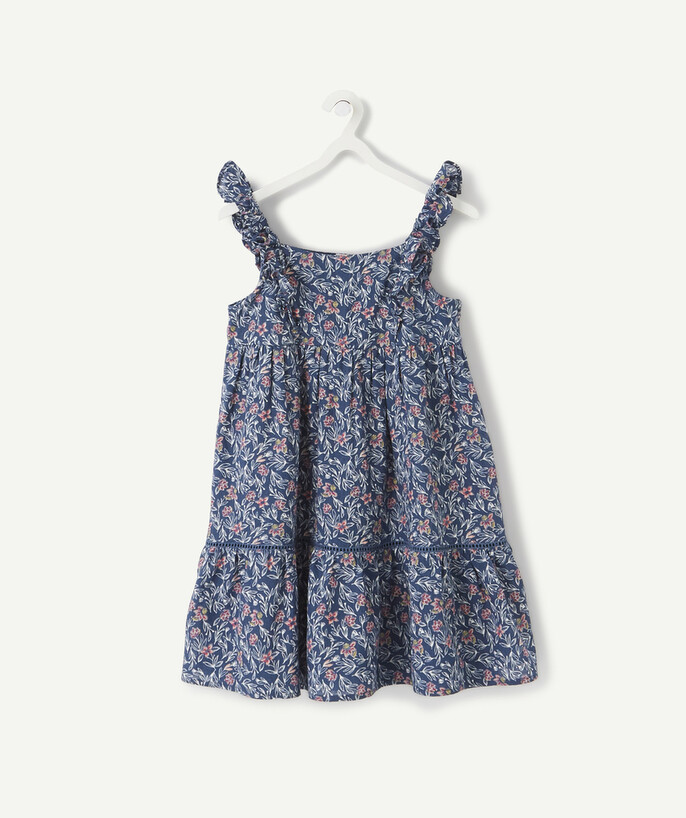 Dress radius - BLUE FLOWER-PATTERNED DRESS WITH FRILLY STRAPS