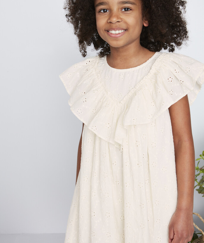 Dress radius - CREAM BRODERIE ANGLAIS DRESS WITH FRILLY SLEEVES