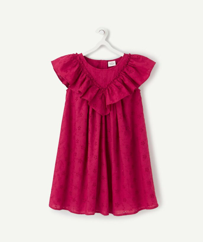 Dress radius - FUCHSIA BRODERIE ANGLAIS DRESS WITH FRILLY SLEEVES