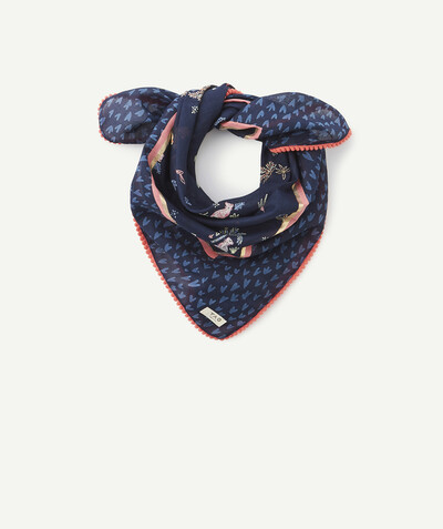 All collection radius - NAVY BLUE HEART PRINT SCARF IN ORGANIC COTTON