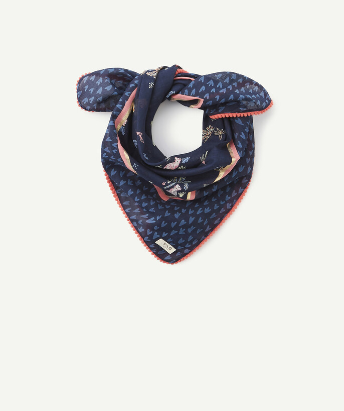 Accessories radius - NAVY BLUE HEART PRINT SCARF IN ORGANIC COTTON