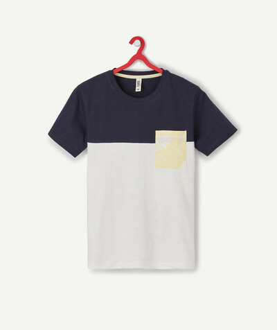 T-shirt radius - BLUE AND WHITE COLOUR BLOCK T-SHIRT IN ORGANIC COTTON
