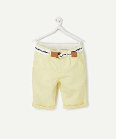 Nouvelle collection Rayon - LE BERMUDA CHINO JAUNE EN LIN ET COTON