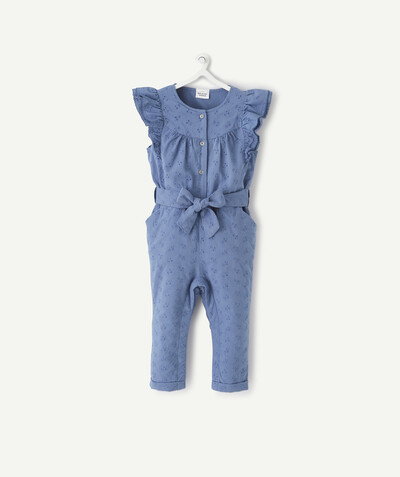 New collection radius - BLUE BRODERIE ANGLAIS JUMPSUIT IN COTTON