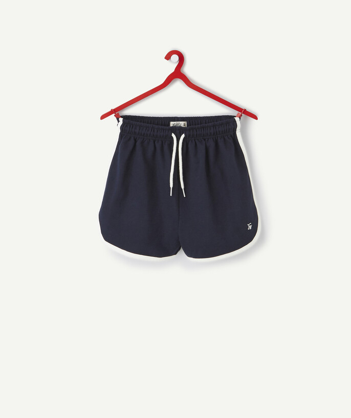 ECODESIGN teen girl Sub radius in - NAVY BLUE SHORTS IN ORGANIC COTTON WITH BEIGE BINDING