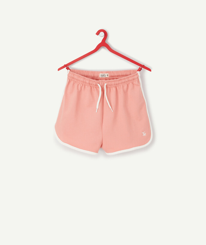 ECODESIGN teen girl Sub radius in - PINK SHORTS IN ORGANIC COTTON WITH WHITE BINDING