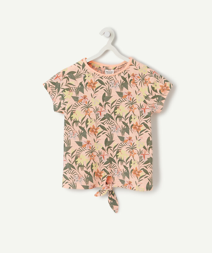 Sportswear radius - PINK FLOWER-PATTERNED T-SHIRT TO TIE IN ORGANIC COTTON