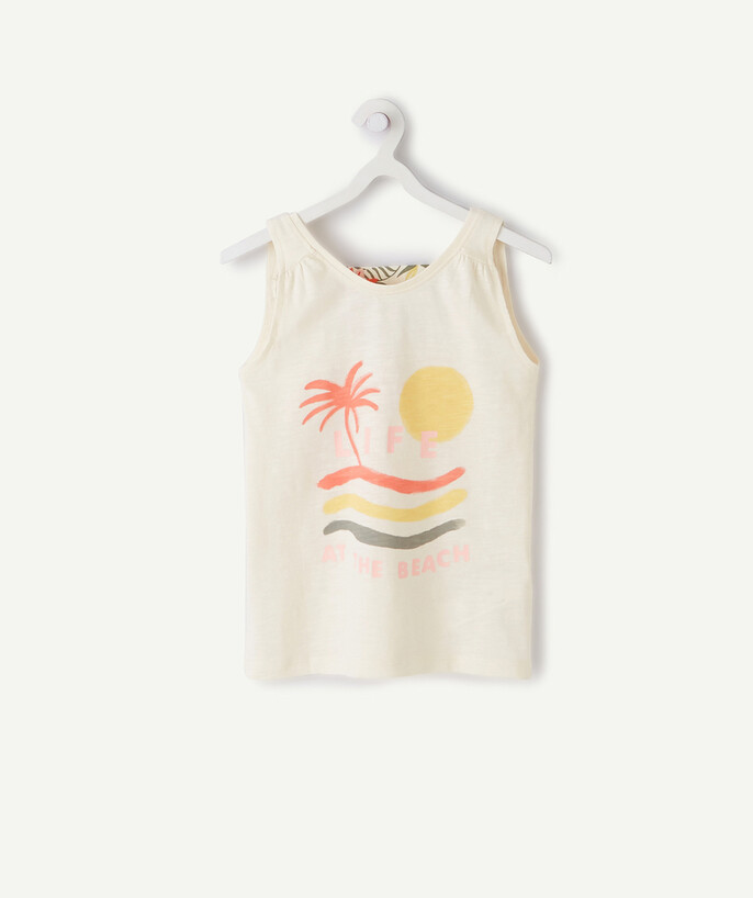 Sportswear radius - CREAM COLOURED AND FLOWER-PATTERNED TANK TOP IN ORGANIC COTTON