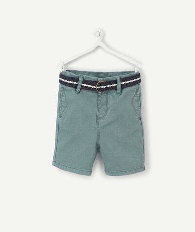 All collection radius - GREEN BERMUDA SHORTS WITH A BELT
