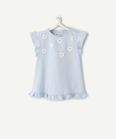 New collection radius - BLUE T-SHIRT WITH FLOWERS AND FRILLS IN ORGANIC COTTON