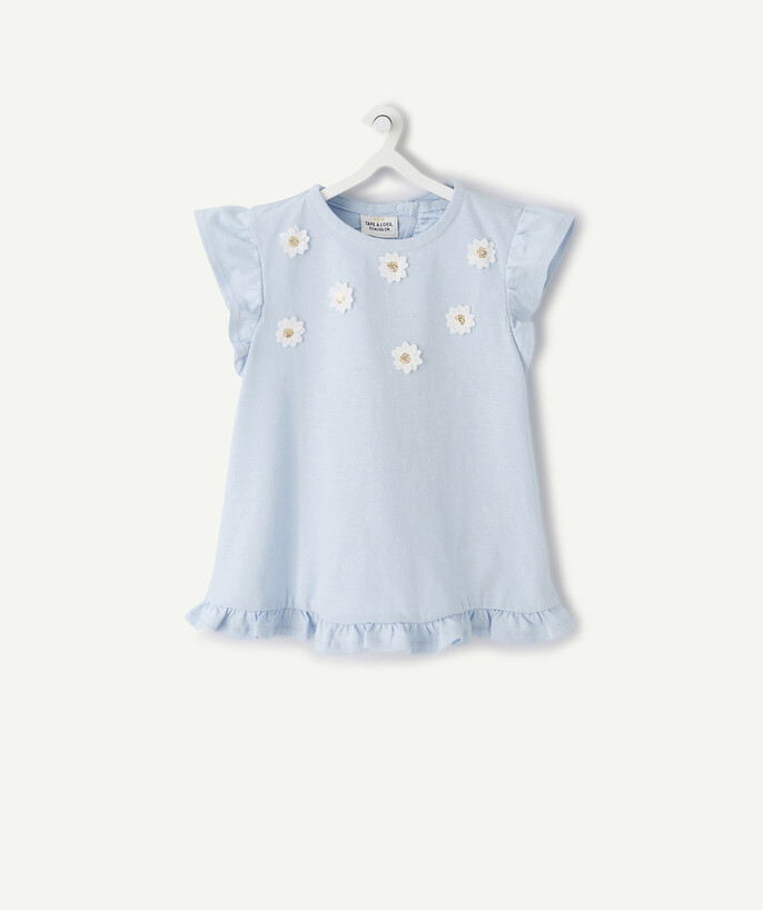 ECODESIGN radius - BLUE T-SHIRT WITH FLOWERS AND FRILLS IN ORGANIC COTTON