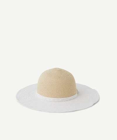 Special occasions' accessories radius - STRAW HAT WITH WHITE EMBROIDERED FABRIC