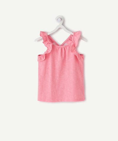 All Collection radius - PINK T-SHIRT IN ORGANIC COTTON WITH FRILLY STRAPS