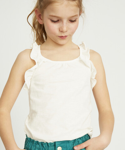 All Collection radius - WHITE T-SHIRT IN ORGANIC COTTON WITH FRILLY STRAPS