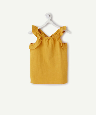 ECODESIGN radius - ORANGE T-SHIRT IN ORGANIC COTTON WITH FRILLY STRAPS