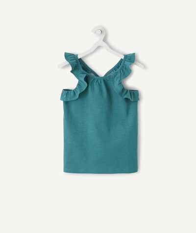 All Collection radius - GREEN T-SHIRT IN ORGANIC COTTON WITH FRILLY STRAPS